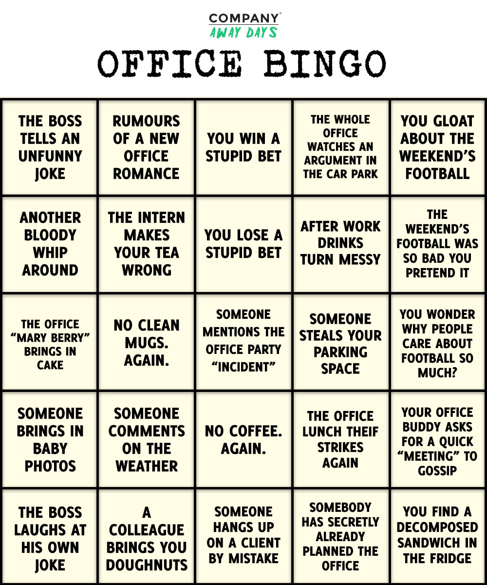 How To Play Office Bingo Company Away Days